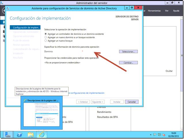 Asistente para configuración de Active Directory Windows 2012